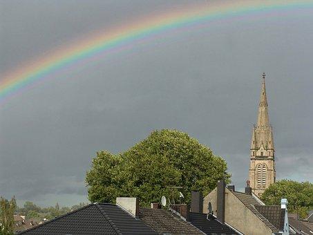 Rainbow, Church, City, Dortmund, Martin, Luther, Roof