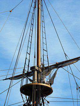Mast, Pirate, Crows Nest, Sky, Ship, Rigging, Halyards