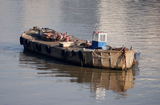Barge, River, Boat, Old, Rusty, Thames, London