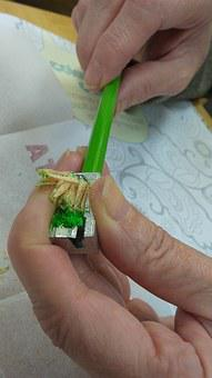 Hands, Pencil Sharpener, Shavings, Pencil, Drawing