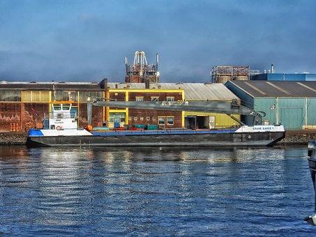 Crane Barge, Amsterdam, Dock, Port, Warehouses, City