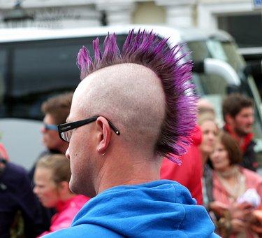 Hairstyle, Head, Punk, Human, Violett, Male, Man, Spike