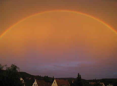 Rainbow, Sky, Skies, Reflection, Nature
