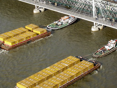Tugs, River, Boats, Shipping, Barge, River Thames