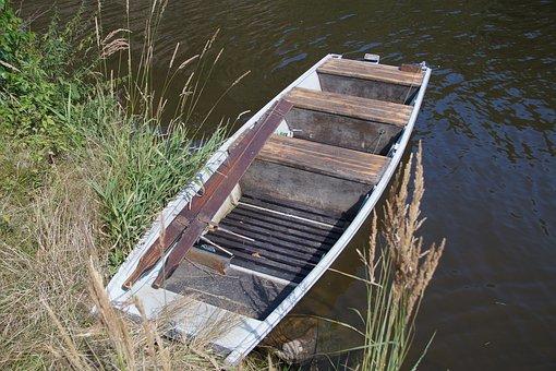 Rowboat, Barge, Punts, Bank, Boat