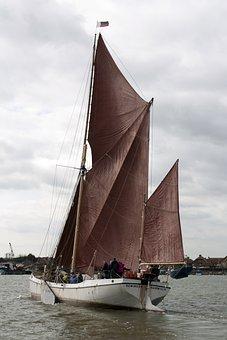 Sailing, Sailing Boat, Boat, Thames, Coal Barge