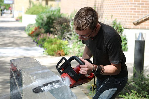Ice Sculpture, Man, Outside, Sawing, Male, Saw, Person