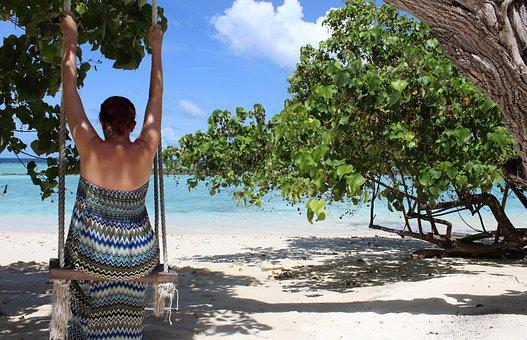 Maldives, Woman On Swing, Swing, Sea, Beach, Palm Trees