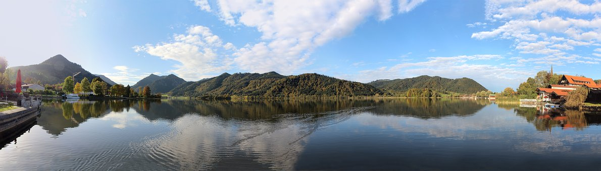 Lake, Mountains, Sky, Landscape, Clouds, Panorama