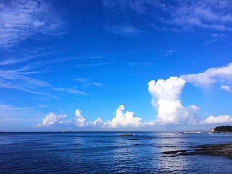 Typhoon, Towering Cumulus Clouds Observed, Blue Sky