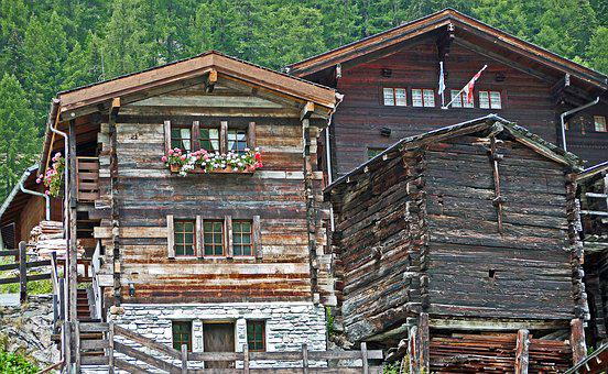 Switzerland, Valais, Wooden Houses, Typical, Gable