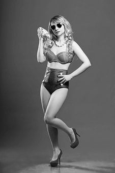 Retro, Vintage, Pin-up, Swimsuit, 40 Years, 50 Years