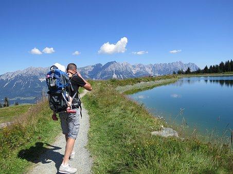 Mountains, Austria, Tyrol, Kaisergebirge, Hiking, Child