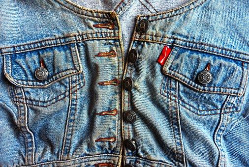 Gilet, Denim, Stitches, Pocket, Button, Button Hole