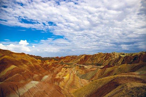Landscape, Danxia, Mountain, Canyon, Zhangye, Orange