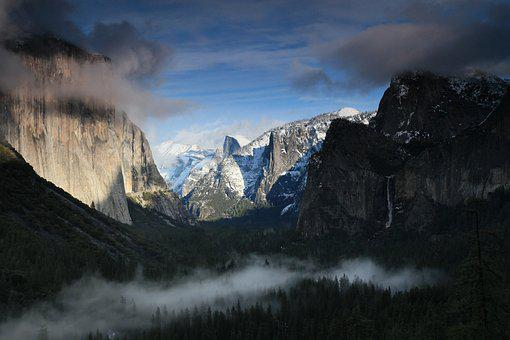 Yosemite, Cloud, Mountain, National Park, Forest
