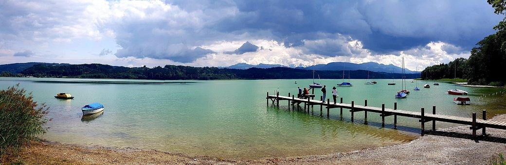Lake, Alpine, Web, Boats, Clouds, Mirroring, Panorama