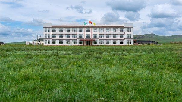 Prairie, Building, Banner, Blue Sky, Green Grass