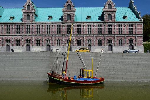 Mini Europe, Miniature Park, Harbor, Boat, Reflections