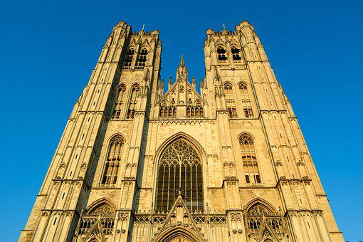 Belgium, Brussels, Cathedral Of St, Michael And St