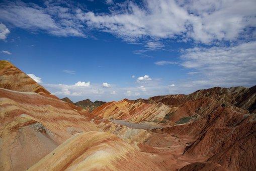Zhangye, Yadan, Canyon, Landscape, Mountain, Orange