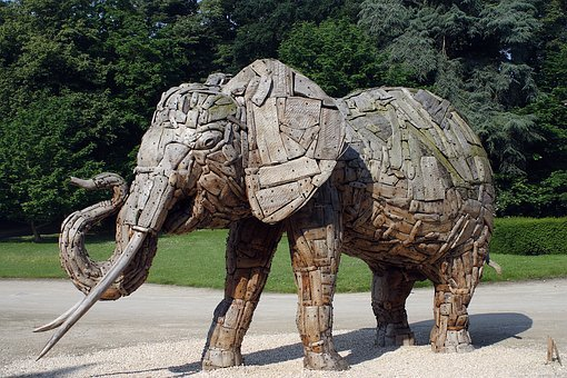 Elephant, Wood, Holzfigur, Sculpture, Museum, Brussels