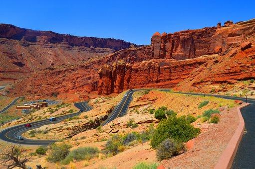 Road, Mountain, Arches National Park, Usa, Utah, Rocks
