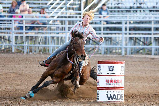 Rodeo, Horse, Barrel, Western, Animal, Co, Cowgirl
