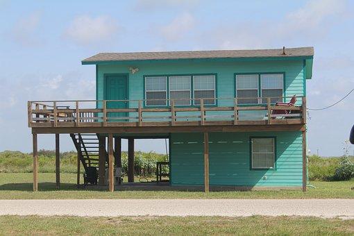 Beach House, Matagorda, Texas, Beach, Blue, Skies, Sky
