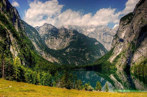 Upper Lake, Berchtesgaden, Königssee, View, Solid