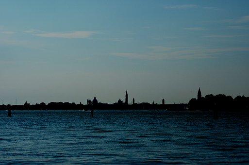 Sea, Laguna, Venice, Shadows, Backlight, Blue