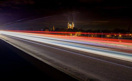 Bridge, Road, Away, Connection, Night, Lights, Dom