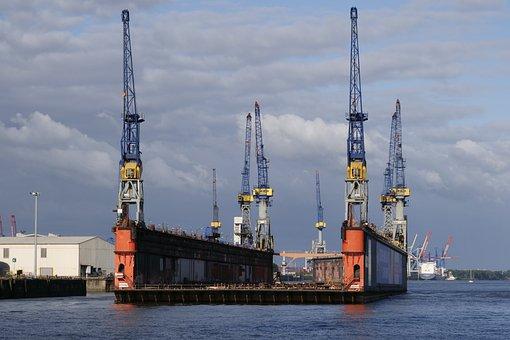 Dock, Repair, Floating Dock, Shipyard, Hamburg, Cranes