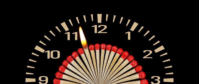 Match, Clock, Flame, Conflagration, Time
