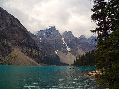 Lake Moraine, Banff, Landscape, Overcast Day