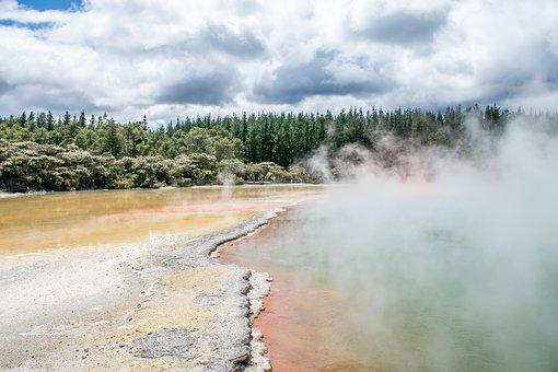 New Zealand, Thermal, Rotorua, Hotpool, Fog