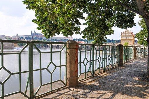 Prague, Czech Republic, Bridge, Quay, River, Trees