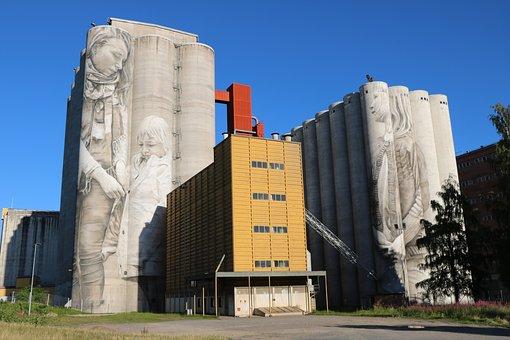 Finnish, Hämeenlinna, Mill, Silos, Graffiti