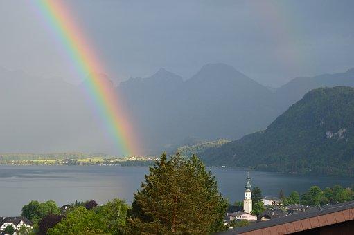 Rainbow, St, Gilgen, Lake Wolfgang, Sky, Nature