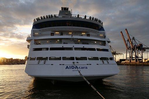 Morning Hours, Sunrise, Morning Sun, Cruise Ship, Aida