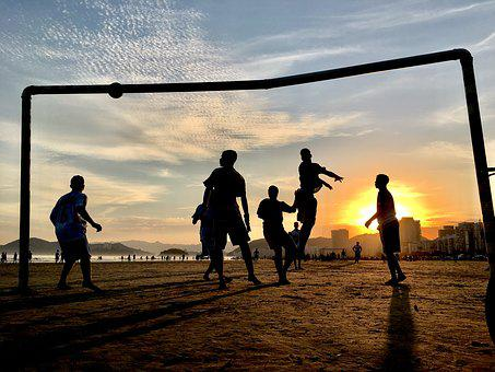 Football, Beach, Summer, Young, White, Holidays, Sunny