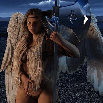 Angel, Woman, Amazone, Pu Dao, Mystical, Angel Figure
