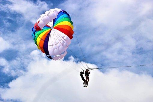Phuket, Patong, Beach, Parachute, Sky, Colors, Thailand