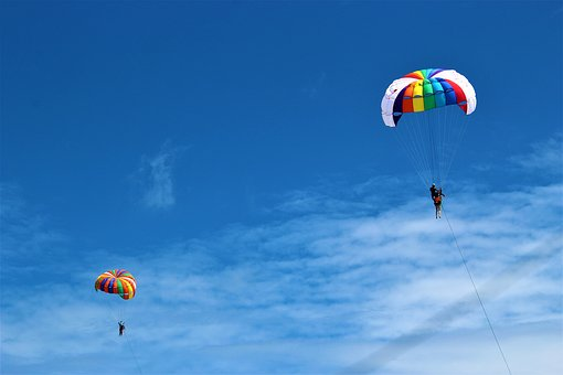 Phuket, Parachuting, Parachute, Patong Beach, Blue Sky