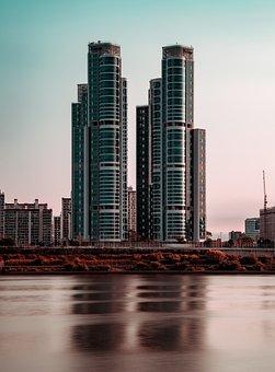 Building, River, Green, Color, Twinbuilding, Urban