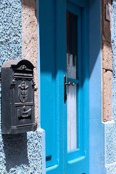 Carloforte, Blue, Turquoise, Door, Landscape, Mail