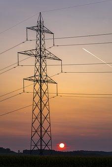 Sun, Energy, Mast, Strommast, Mood, Sunset