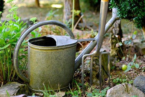Watering Can, Digging Fork, Gardening, Garden