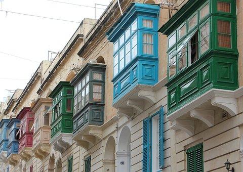 Malta, Windows, Houses, Architecture, Mediterranean
