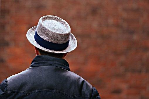 Man, Hat, Back, Shoulders, Standing, Headgear